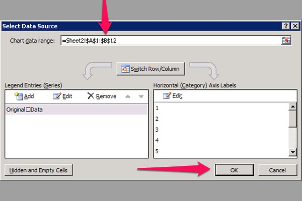 The Chart data range field in the Select Data Source dialog now displays the range