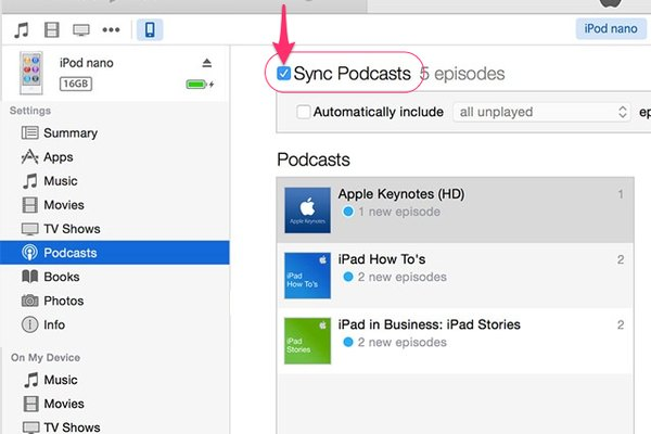 Click the Sync Podcasts box