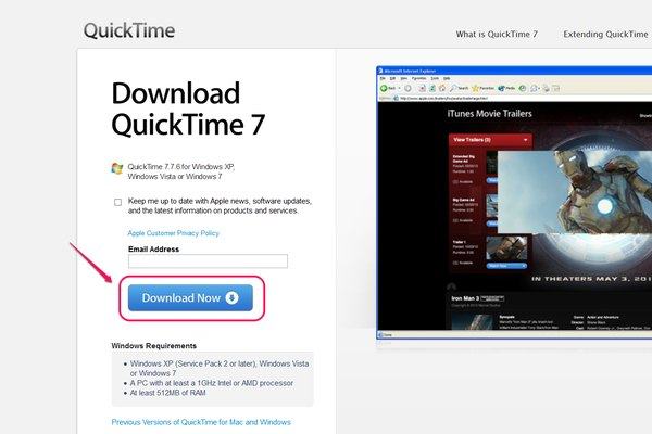 Download QuickTime for Windows to Install.
