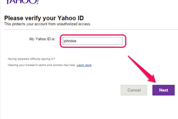 Please Verify Your Yahoo ID page.