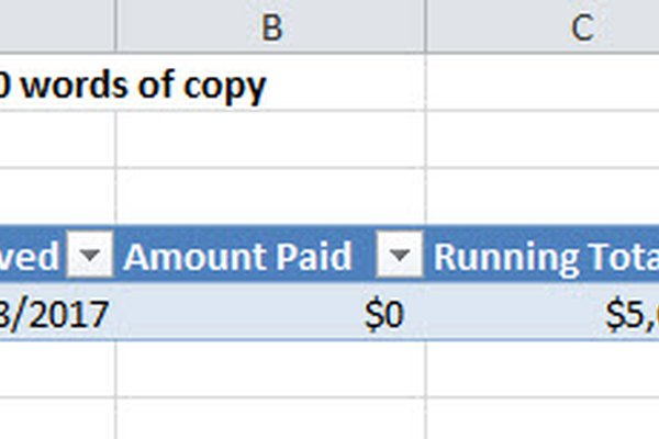 payment sheet in excel