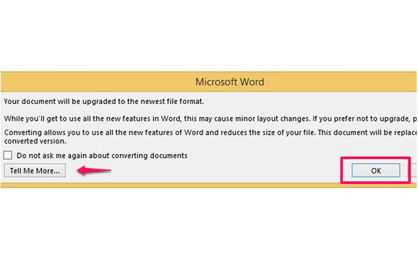 Converting a document upgrades it to the latest version of Word.