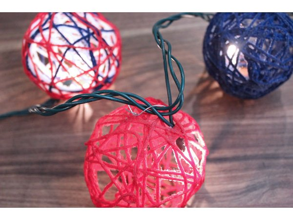 Insert string lights in the globes