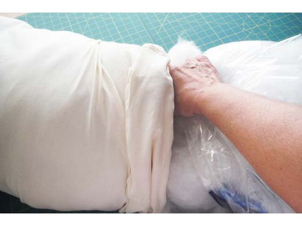 Stuff the pillow with fiber fill.
