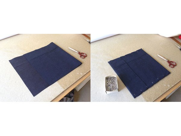 Fold felt lengthwise and pin together.
