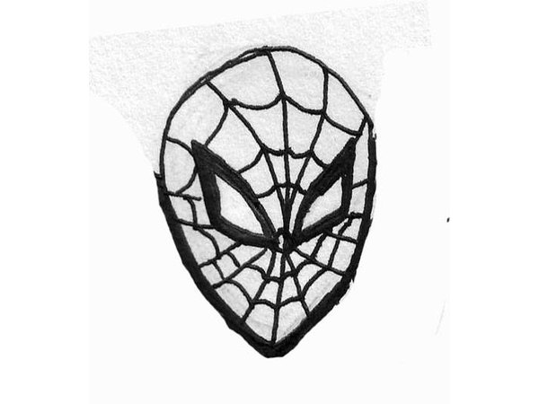 how to draw spidermans face