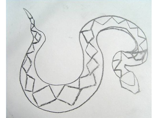 Draw large diamond shapes down the rest of the diamondback rattlesnake.
