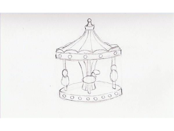 how to draw a merry go round step by step
