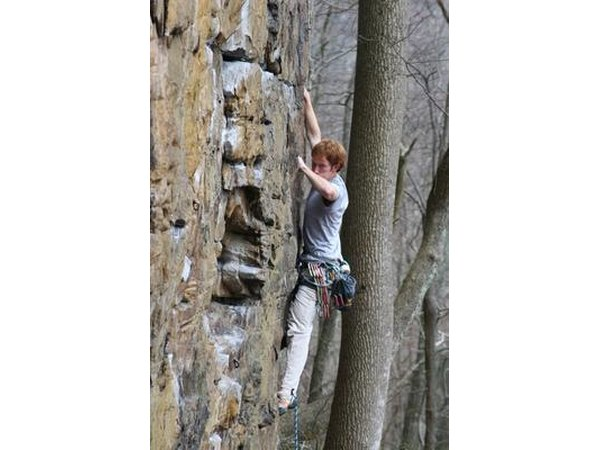 Rock climbers wear a harness to maximize saftey.
