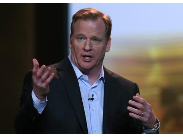 NFL Commissioner Roger Goodell speaks in Las Vegas.