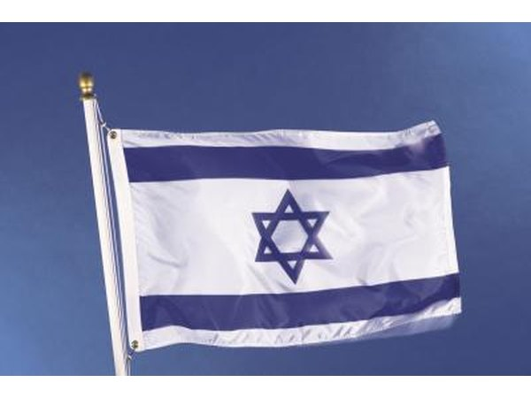 Israeli flag blowing in the wind