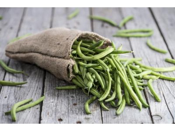 Sack of green beans on wood table.