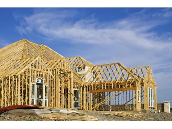 Pressure treated lumber is used to frame a new home.