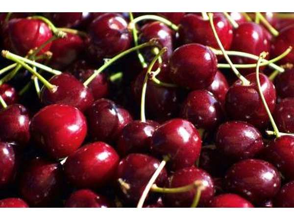 A basket of red cherries.