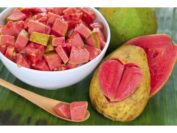 Sliced guava in a bowl.