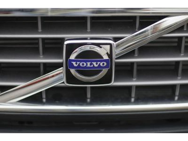 Volvo logo are grill of car