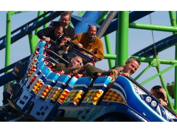 Roller coaster action at Oktoberfest fair in Munich, Germany