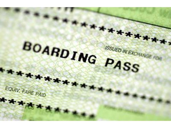 Close up of boarding pass.