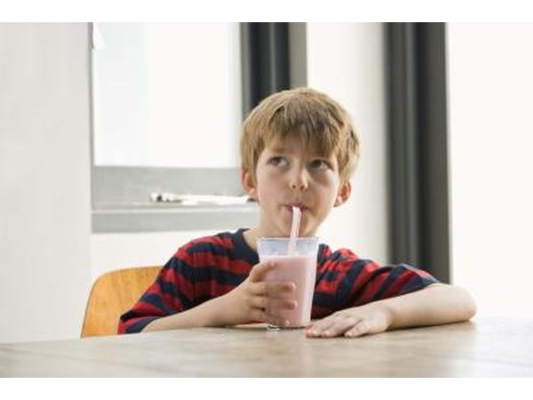 Boy drinking smoothie