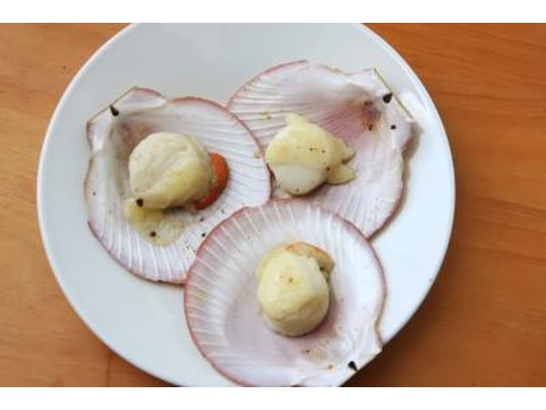 Dish of baked scallops