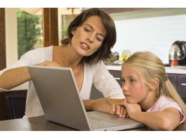 Child using an online learning project