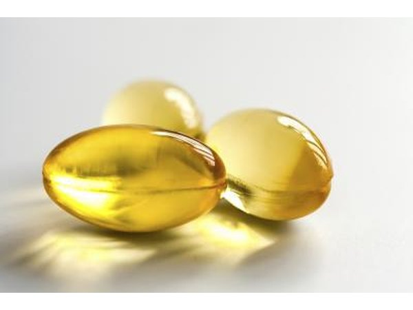 Close up of fish oil pills.