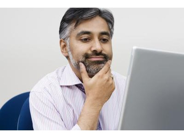 Man researching online