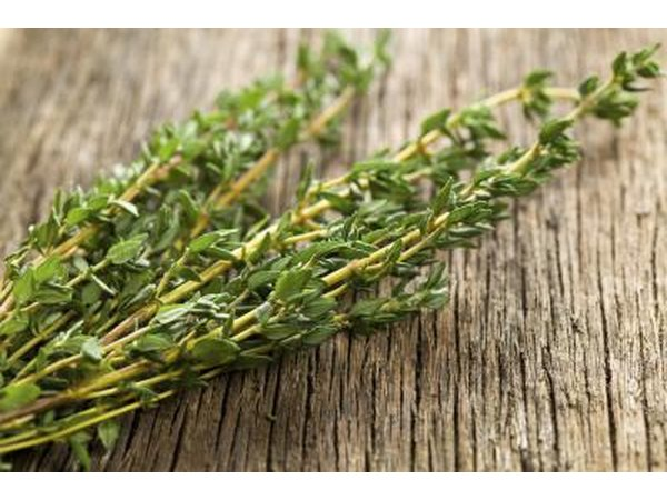 Close-up of thyme herb on wooden counter.