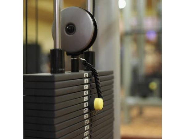 Close-up on weights used in exercise machine