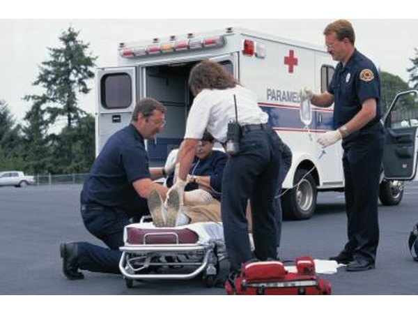 EMT treating a patient on the scene
