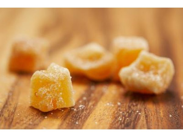 A close-up of candied ginger.