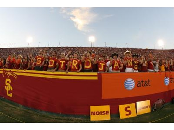 Fans cheer on the University of Southern California Trojans