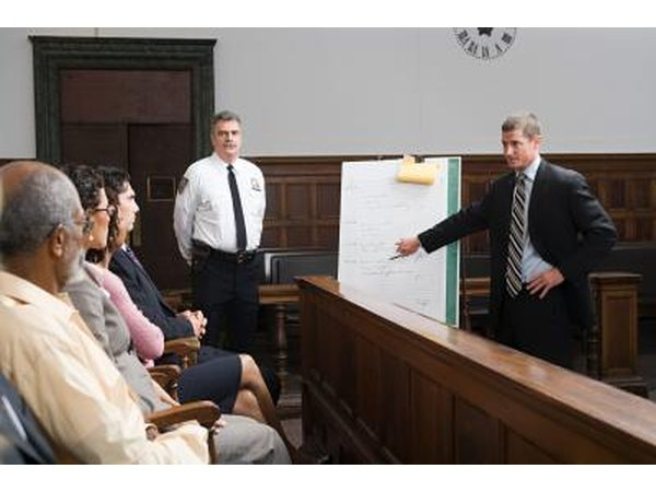 Lawyer at work in the courtroom