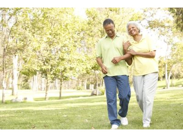 Couple walking for exercise
