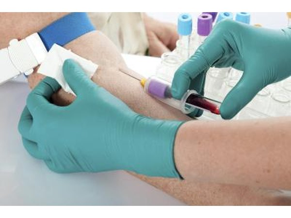 Woman having blood tested before becoming donor