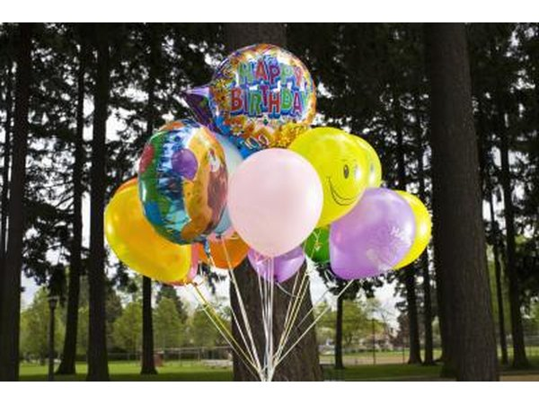 group of balloons outside