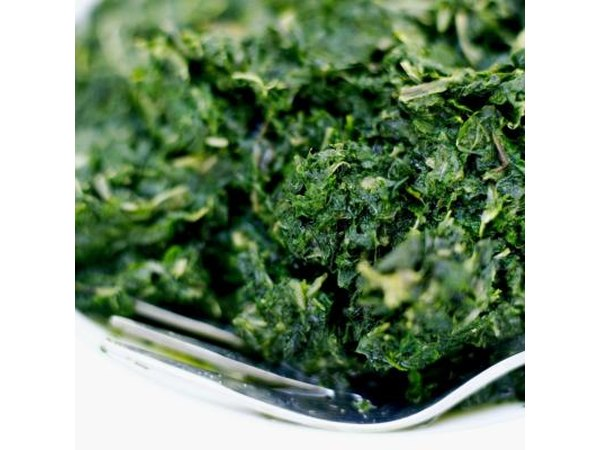 A close up of chopped spinach.