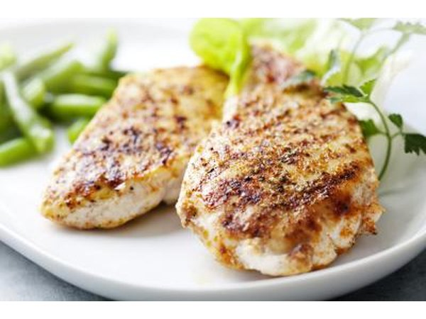 Grilled chicken breast and vegetables.