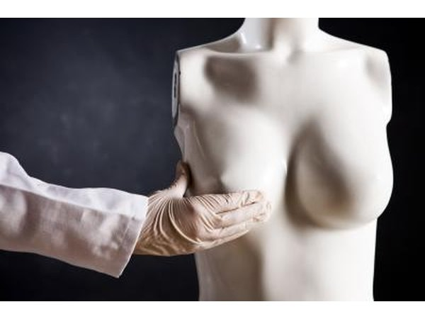 Breast examination on mannequin.