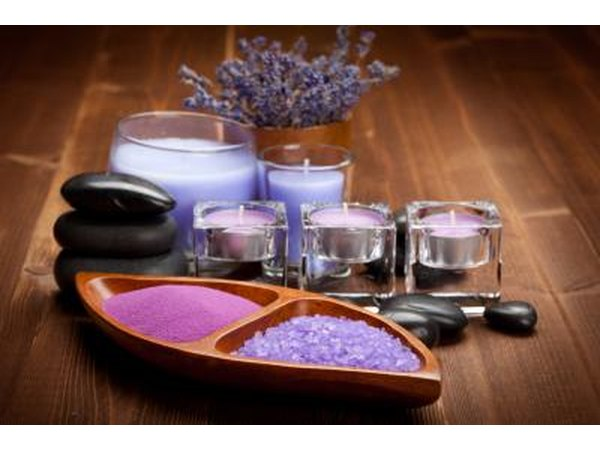Aromatherapy candles and bath salts