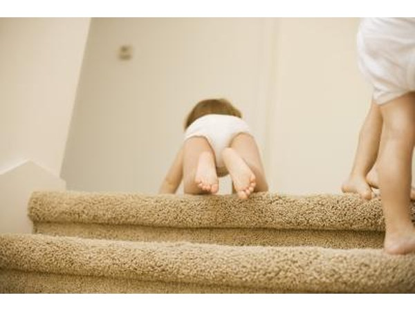 Carpeted staircase.