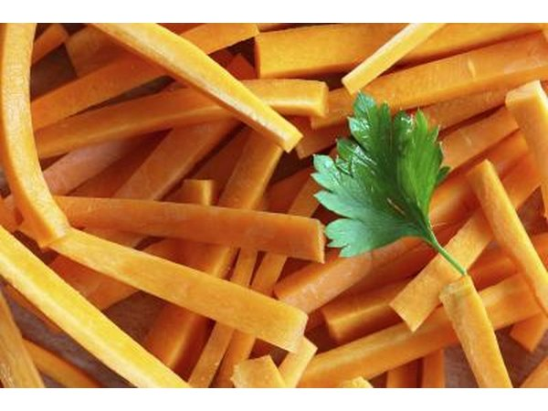 Carrot sticks with a parsley garnish