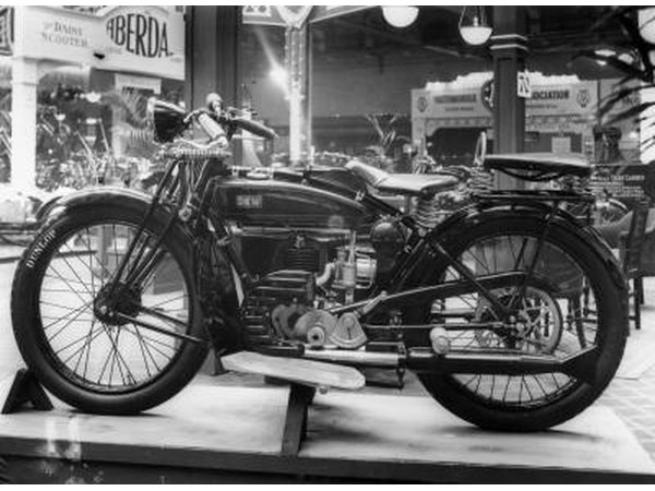 DKW E250 at motorcycle show in London, circa 1930