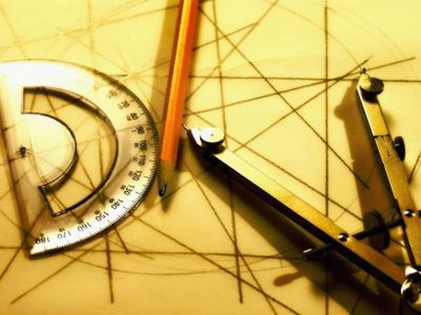 Protractors and compasses help a drafter measure and draw precise angles and curves.