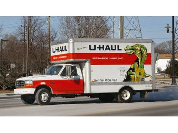 A U-Haul truck on the road