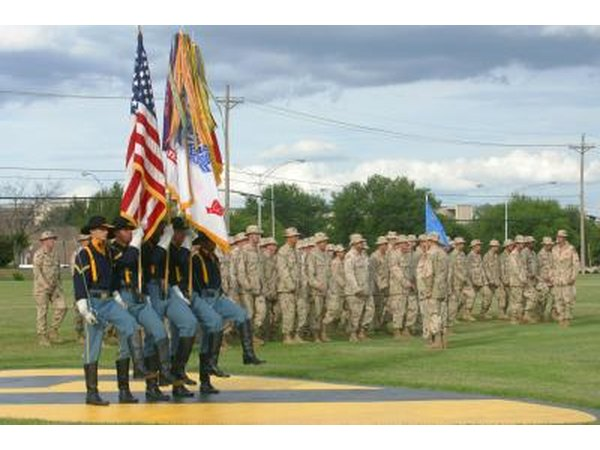 Honor guard and troops at Fort Hood