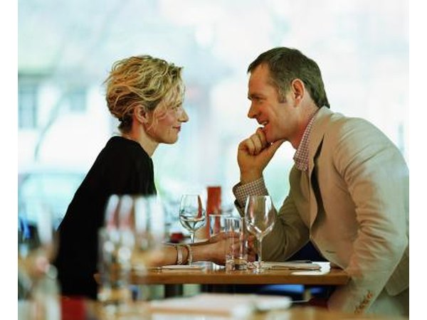Couple talking at restaurants