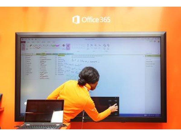 Touchscreen demonstration of Microsoft Office 2013