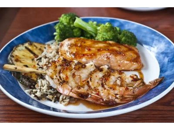 salmon with rice and brocolli