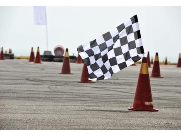 Checkered flag at the end of a course.